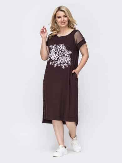 Коричневое платье батал прямого кроя с вышивкой  49896, фото 1
