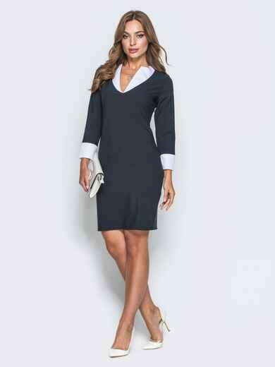 Платье прямого кроя с фигурным вырезом горловины черное - 14656, фото 2 – интернет-магазин Dressa