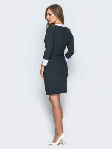 Платье прямого кроя с фигурным вырезом горловины черное - 14656, фото 3 – интернет-магазин Dressa