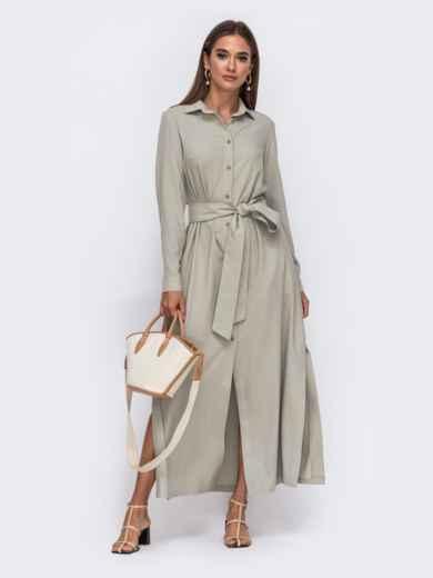 Платье-рубашка цвета хаки с высокими разрезами по бокам 50103, фото 1