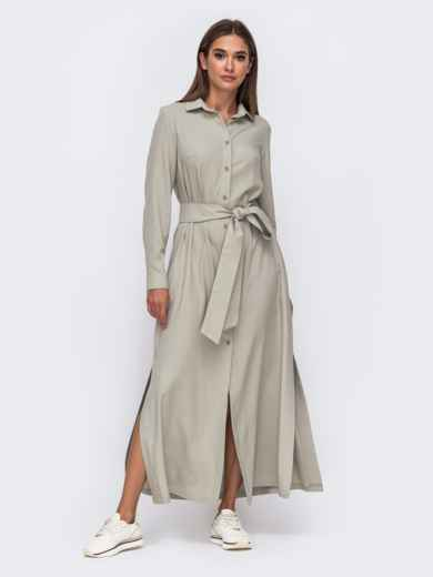 Платье-рубашка цвета хаки с высокими разрезами по бокам 50103, фото 2