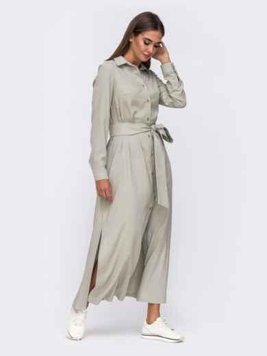 Платье-рубашка цвета хаки с высокими разрезами по бокам 50103, фото 3