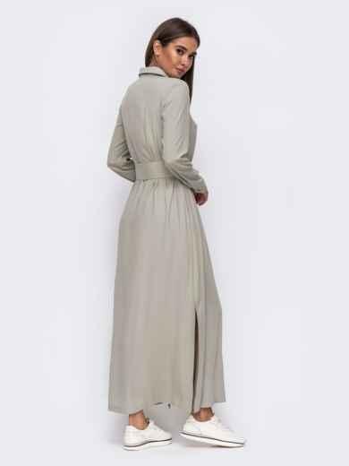 Платье-рубашка цвета хаки с высокими разрезами по бокам 50103, фото 4
