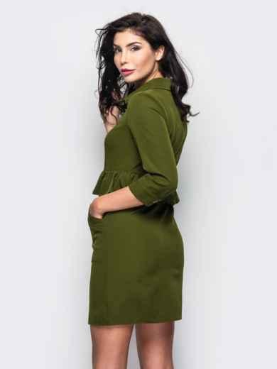 Платье-рубашка с оборкой на поясе зелёное - 13552, фото 2 – интернет-магазин Dressa