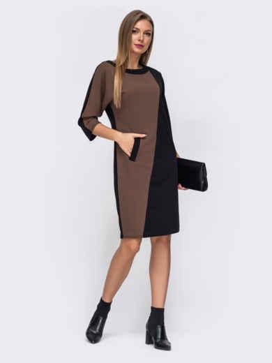 Платье с цельнокроеным рукавом коричневое 52355, фото 1