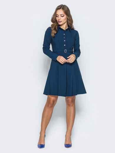 Платье с расклешенной юбкой и кнопками тёмно-синее - 14661, фото 2 – интернет-магазин Dressa