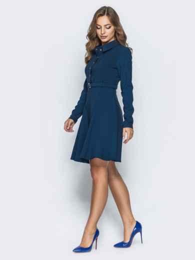 Платье с расклешенной юбкой и кнопками тёмно-синее - 14661, фото 3 – интернет-магазин Dressa
