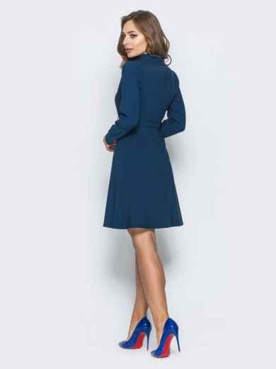 Платье с расклешенной юбкой и кнопками тёмно-синее - 14661, фото 4 – интернет-магазин Dressa