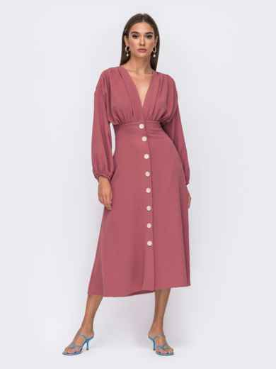 Розовое платье в стиле ретро из крепа 50105, фото 1