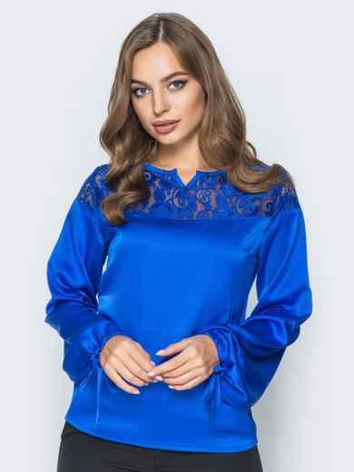 Шелковая блузка цвета электрик с кружевной кокеткой 14085, фото 2
