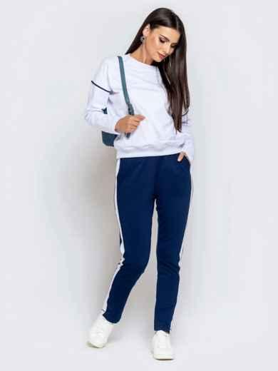 Спортивный комплект из штанов с лампасами и кофты синий - 40590, фото 2 – интернет-магазин Dressa