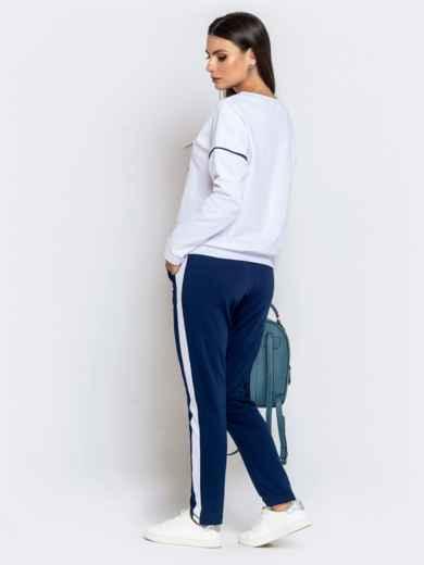 Спортивный комплект из штанов с лампасами и кофты синий - 40590, фото 3 – интернет-магазин Dressa