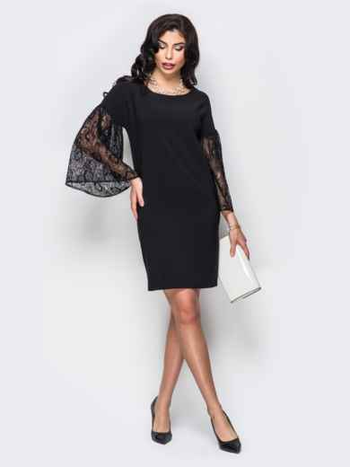 Свободное платье с объемными рукавами из гипюра чёрное - 22154, фото 2 – интернет-магазин Dressa