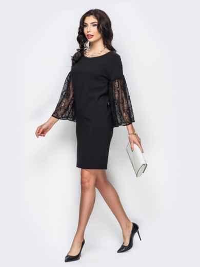 Свободное платье с объемными рукавами из гипюра чёрное - 22154, фото 3 – интернет-магазин Dressa
