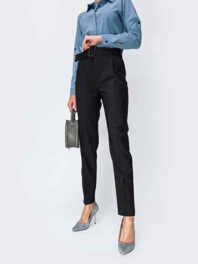 Тёплые брюки с завышенной талией и поясом чёрные 42356, фото 1