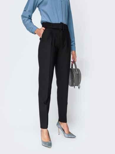 Тёплые брюки с завышенной талией и поясом чёрные - 42356, фото 2 – интернет-магазин Dressa