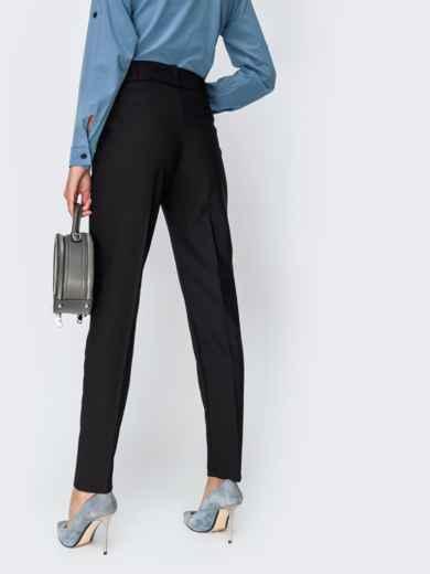 Тёплые брюки с завышенной талией и поясом чёрные - 42356, фото 3 – интернет-магазин Dressa