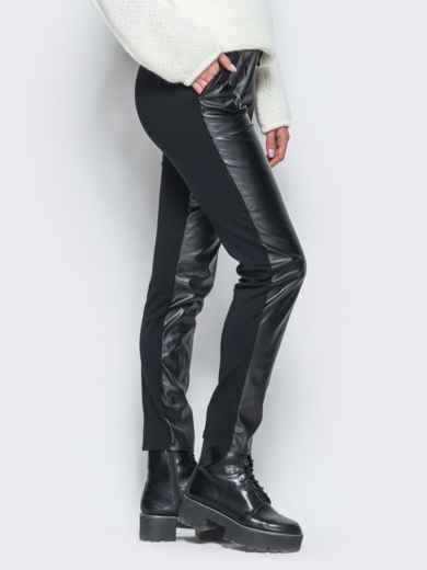 Трикотажные брюки на флисе с кожаной вставкой спереди - 17763, фото 2 – интернет-магазин Dressa