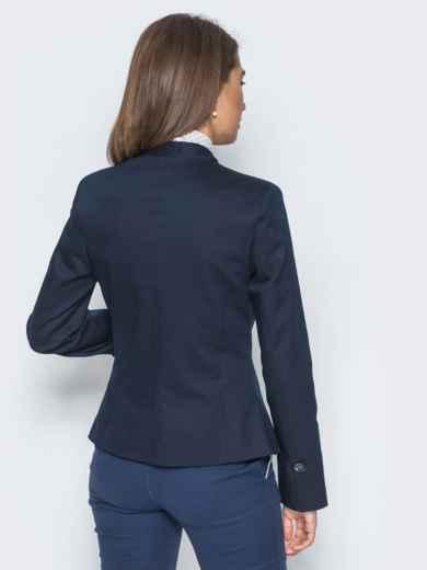 Жакет приталенного кроя с подкладкой тёмно-синий - 14432, фото 3 – интернет-магазин Dressa