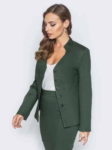 Жакет приталенного кроя с подкладкой зелёный - 14434, фото 3 – интернет-магазин Dressa