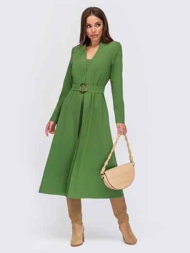Зеленое платье-клёш с V-образным вырезом горловины 55495, фото 1