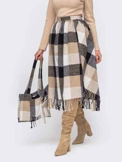 Бежевая расклешенная юбка с бахрамой по низу 51039, фото 1