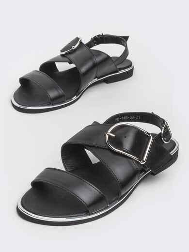 Кожаные босоножки чёрного цвета - 39682, фото 1 – интернет-магазин Dressa
