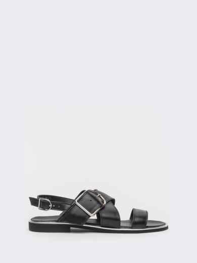 Кожаные босоножки чёрного цвета - 39682, фото 2 – интернет-магазин Dressa