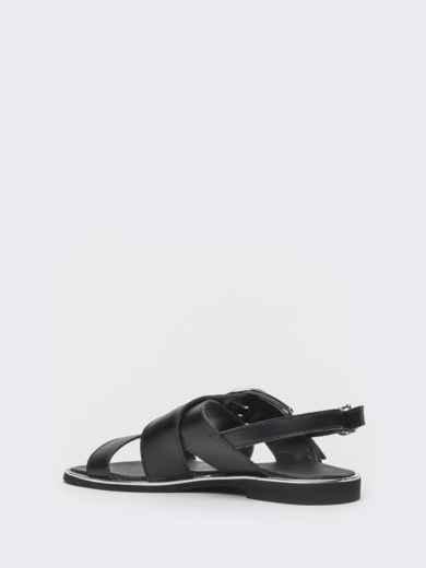 Кожаные босоножки чёрного цвета - 39682, фото 3 – интернет-магазин Dressa