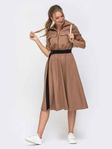 Платье бежевого цвета с расклешенной юбкой 49392, фото 1