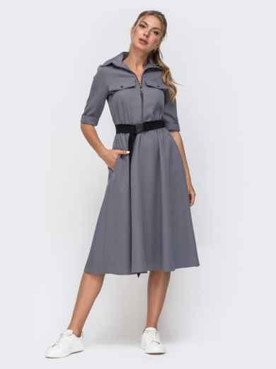 Платье серого цвета с расклешенной юбкой 49393, фото 1