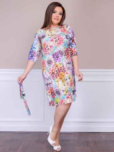 Приталенное платье батал с цветочным принтом бирюзовое - 47614, фото 1 – интернет-магазин Dressa