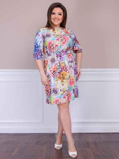 Приталенное платье батал с цветочным принтом бирюзовое - 47614, фото 2 – интернет-магазин Dressa