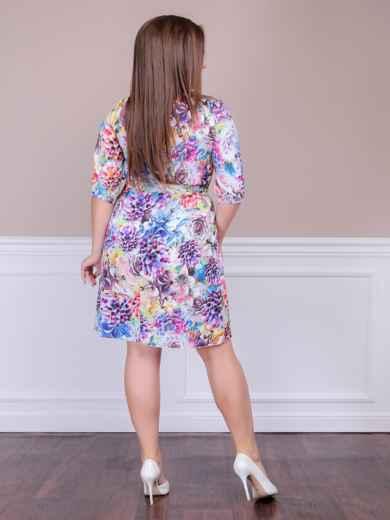 Приталенное платье батал с цветочным принтом бирюзовое - 47614, фото 3 – интернет-магазин Dressa
