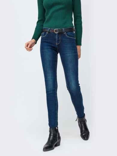 Синие джинсы с завышенной талией и ремнем - 42602, фото 1 – интернет-магазин Dressa