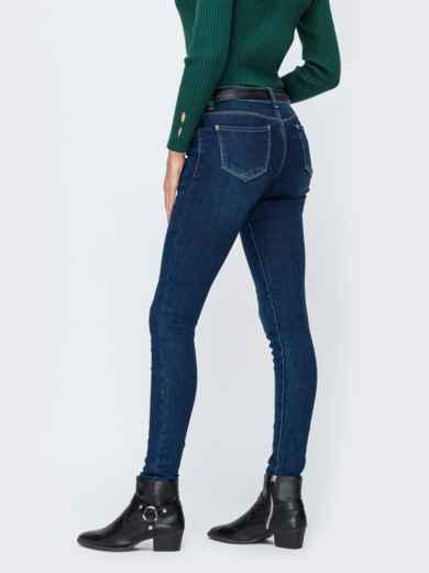 Синие джинсы с завышенной талией и ремнем - 42602, фото 2 – интернет-магазин Dressa