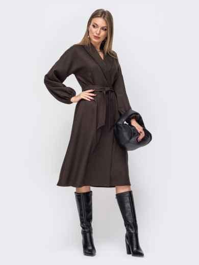 Свободное платье-пиджак цвета хаки с шалевым воротником 51445, фото 1
