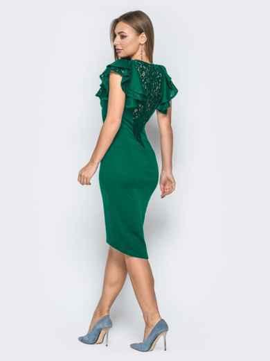 Зелёное платье с воланами на рукавах и вырезом по спинке 42308, фото 1
