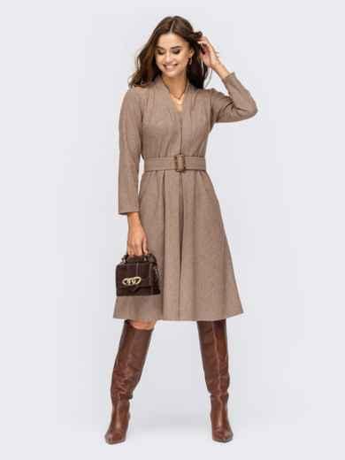 Платье коричневого цвета с Vобразным вырезом и юбкой-клеш - 55572, фото 1
