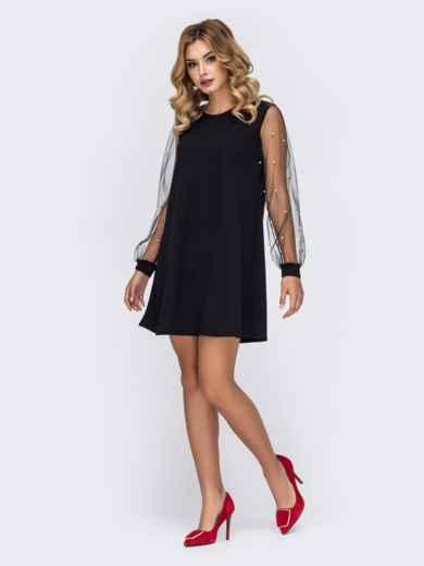 Чёрное платье-трапеция с фатиновыми рукавами и жемчужинами 42896, фото 2