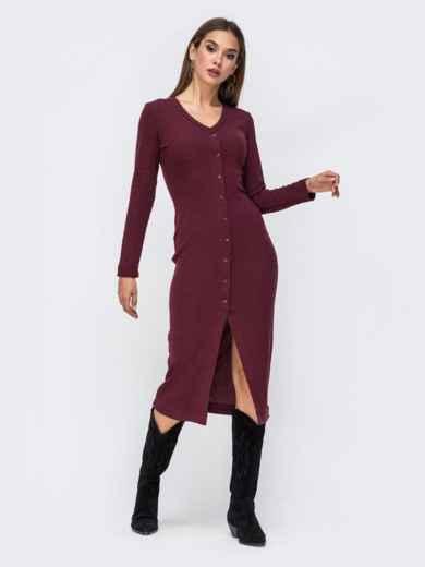 Обтягивающее платье из трикотажа с нитью люрекса бордовое 41743, фото 1