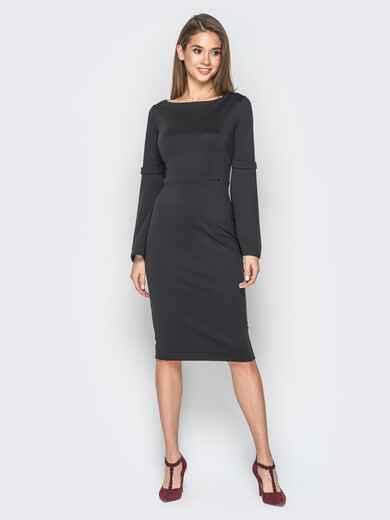 Платье черного цвета с расклешенными рукавами - 17971, фото 1 – интернет-магазин Dressa