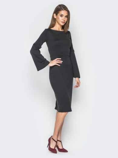 Платье черного цвета с расклешенными рукавами - 17971, фото 2 – интернет-магазин Dressa