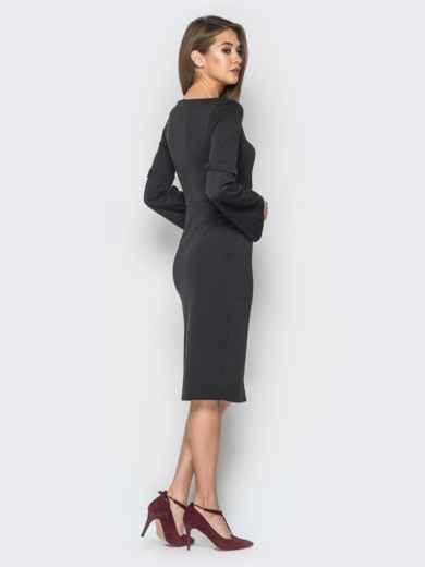Платье черного цвета с расклешенными рукавами - 17971, фото 3 – интернет-магазин Dressa