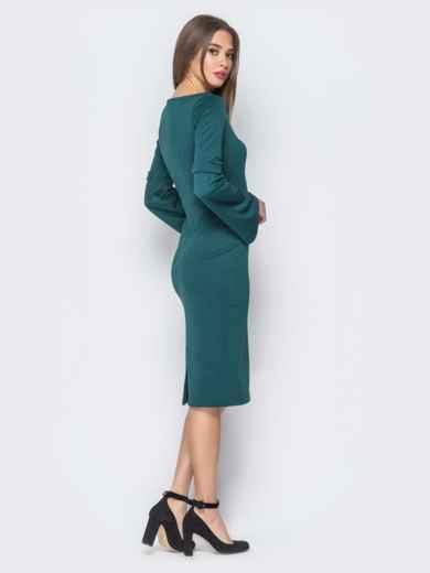 Платье зелёного цвета с расклешенными рукавами - 17969, фото 2 – интернет-магазин Dressa