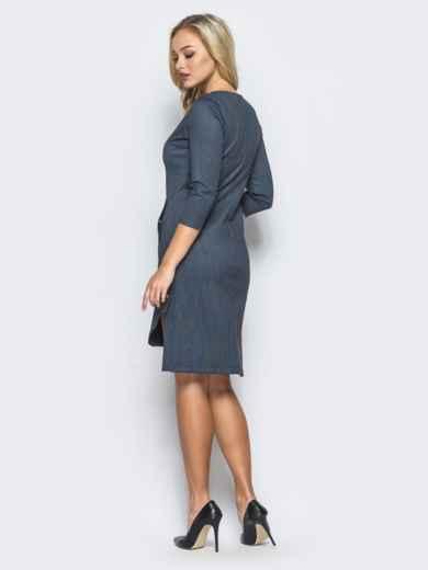 Серое платье с боковыми разрезами на кнопках - 15631, фото 3 – интернет-магазин Dressa