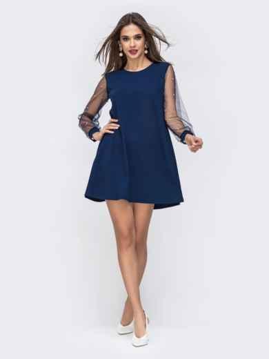 Синее платье-трапеция с фатиновыми рукавами и жемчужинами 42893, фото 1