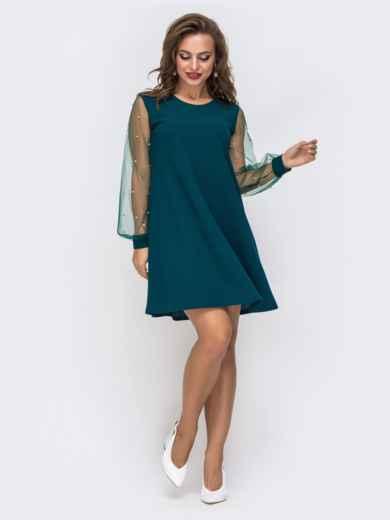 Зеленое платье-трапеция с фатиновыми рукавами и жемчужинами 42894, фото 1