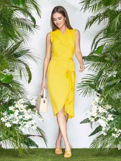 Желтое платье-халат из софта с закругленным низом - 21577, фото 2 – интернет-магазин Dressa
