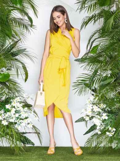 Желтое платье-халат из софта с закругленным низом - 21577, фото 3 – интернет-магазин Dressa